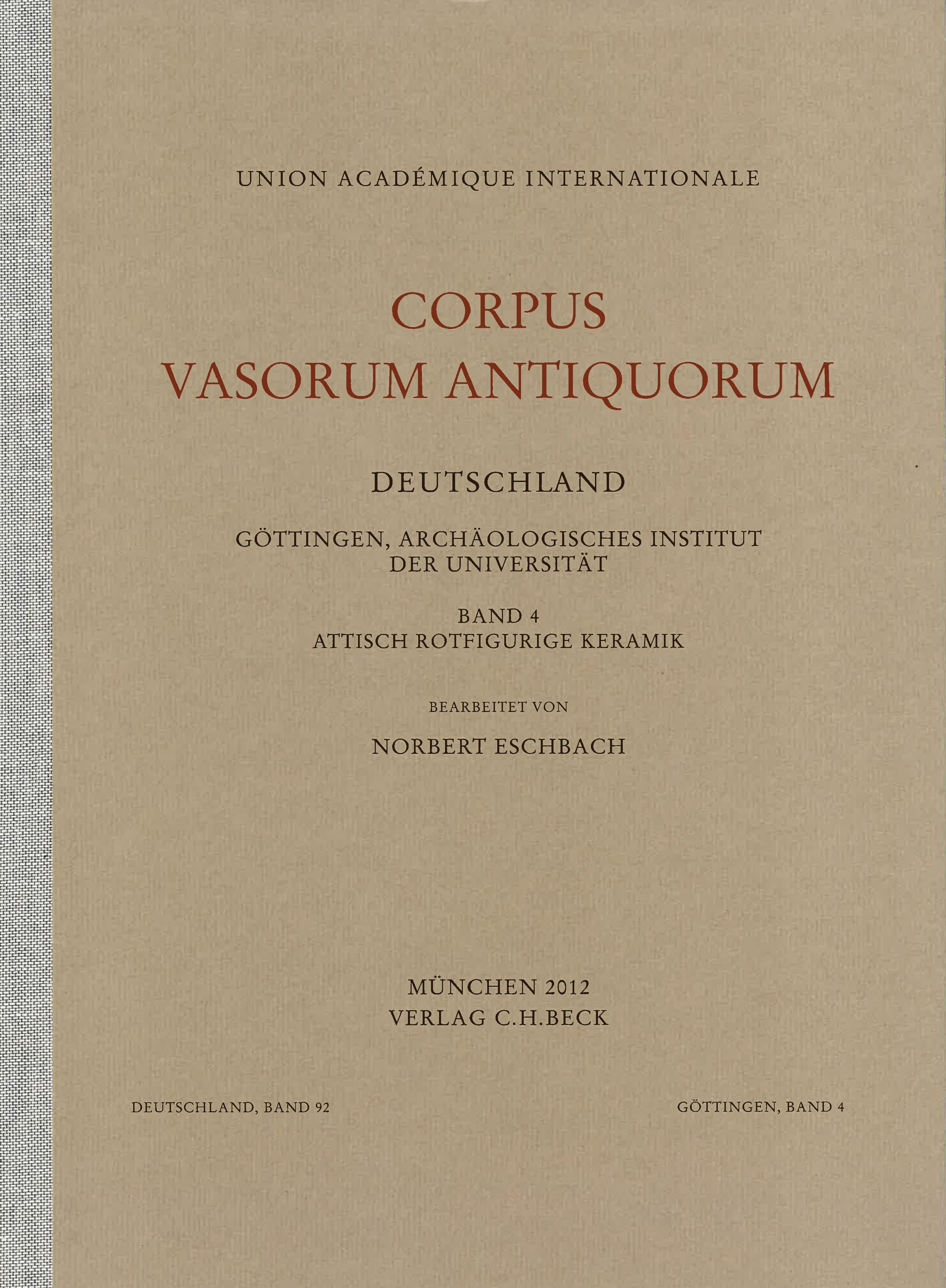 Cover des Buches 'Corpus Vasorum Antiquorum Deutschland Bd. 92:  Göttingen Band 4'