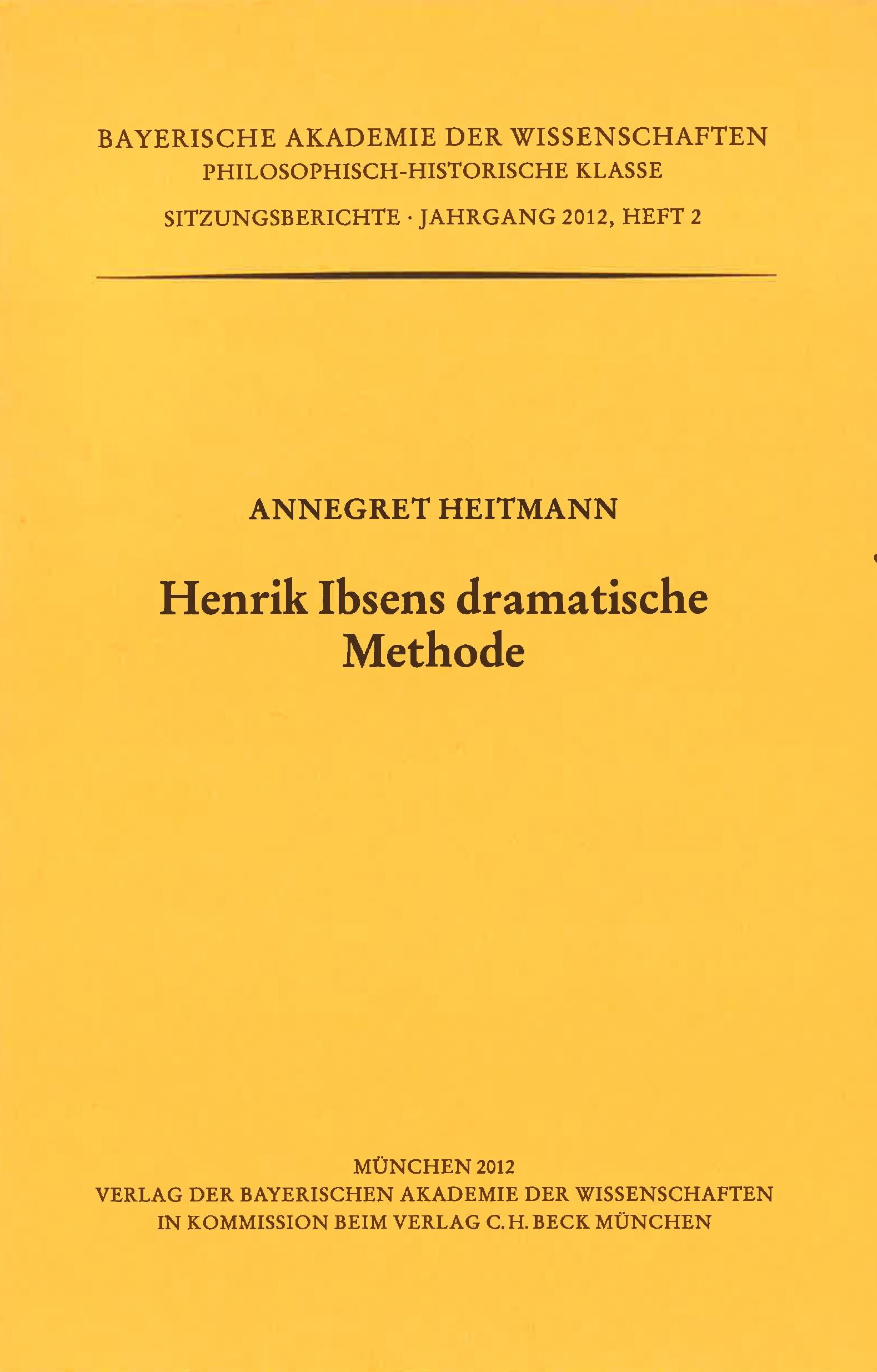 Cover des Buches 'Henrik Ibsens dramatische Methode'