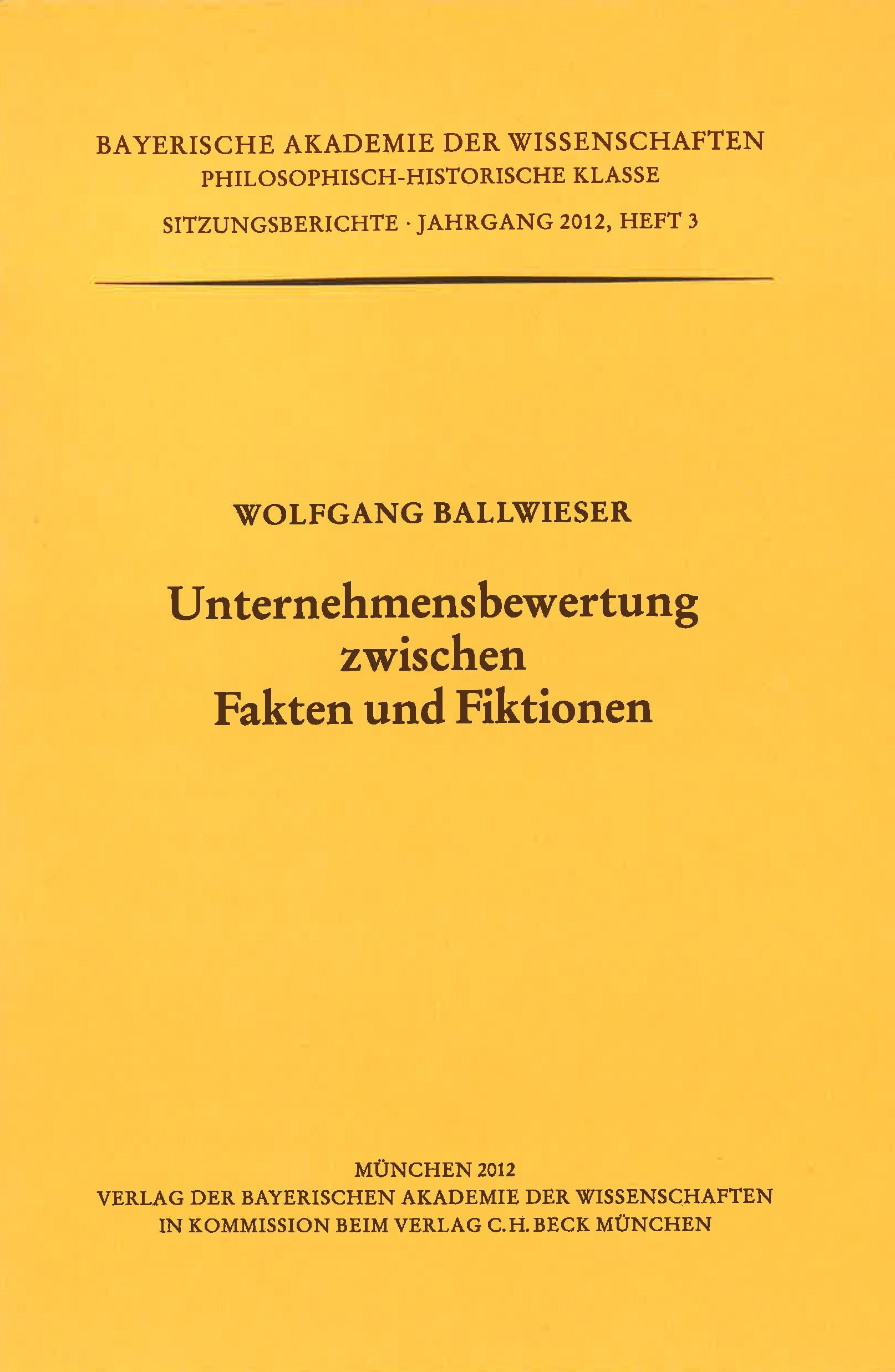 Cover des Buches 'Unternehmensbewertung zwischen Fakten und Fiktionen'