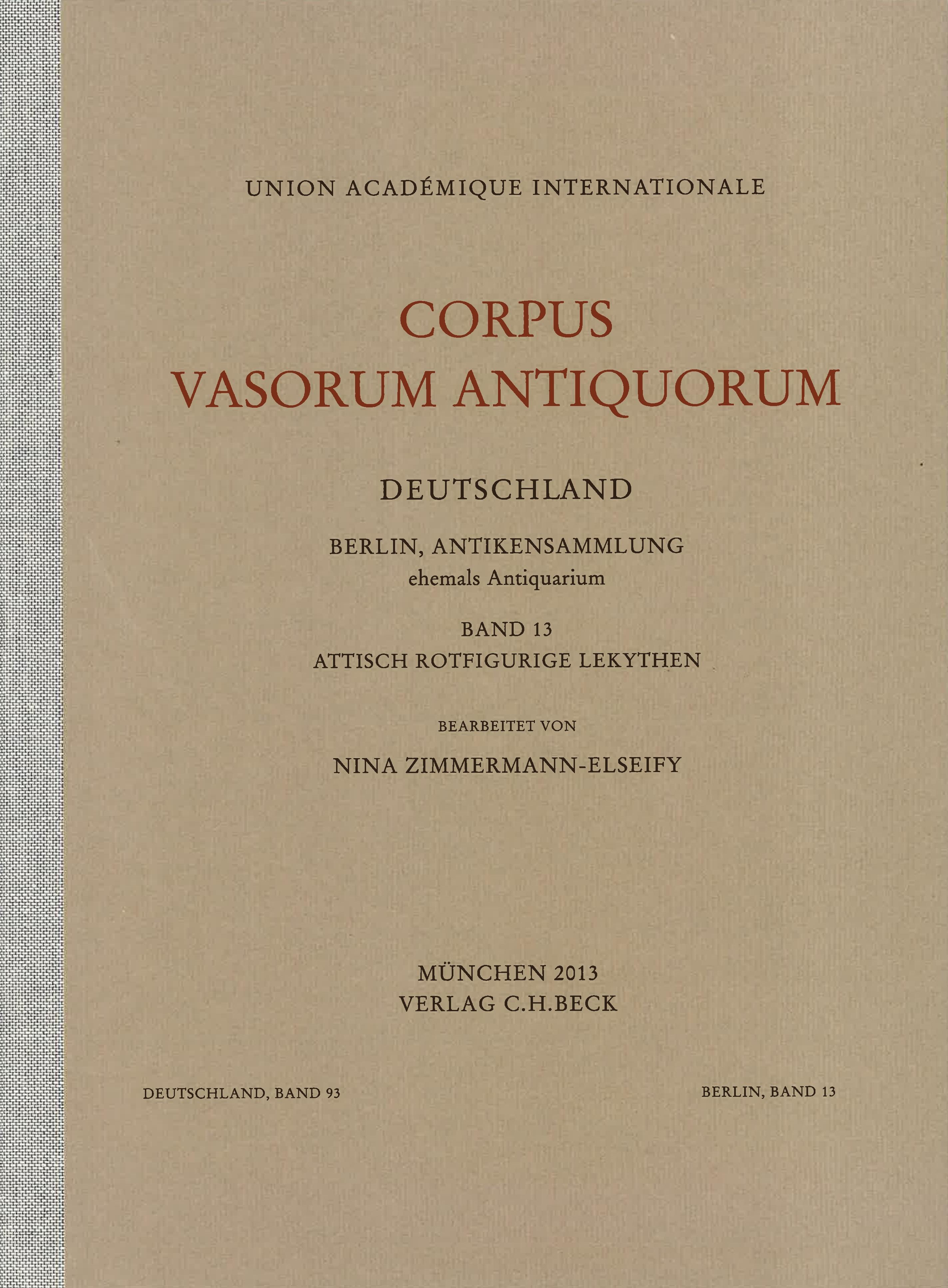 Cover des Buches 'Corpus Vasorum Antiquorum Deutschland Bd. 93:  Berlin Band 13'