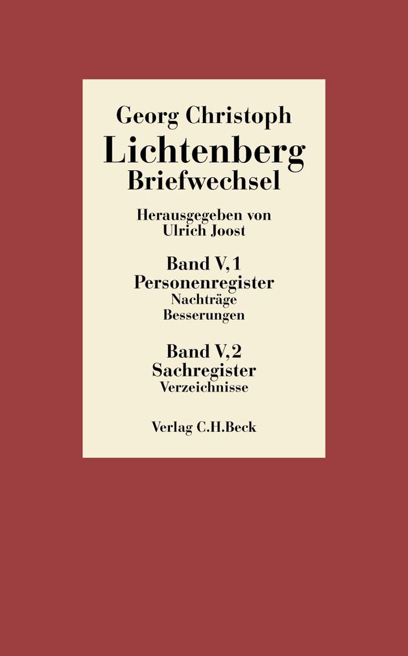 Cover des Buches 'Lichtenberg, Briefwechsel, Band 5: Register'