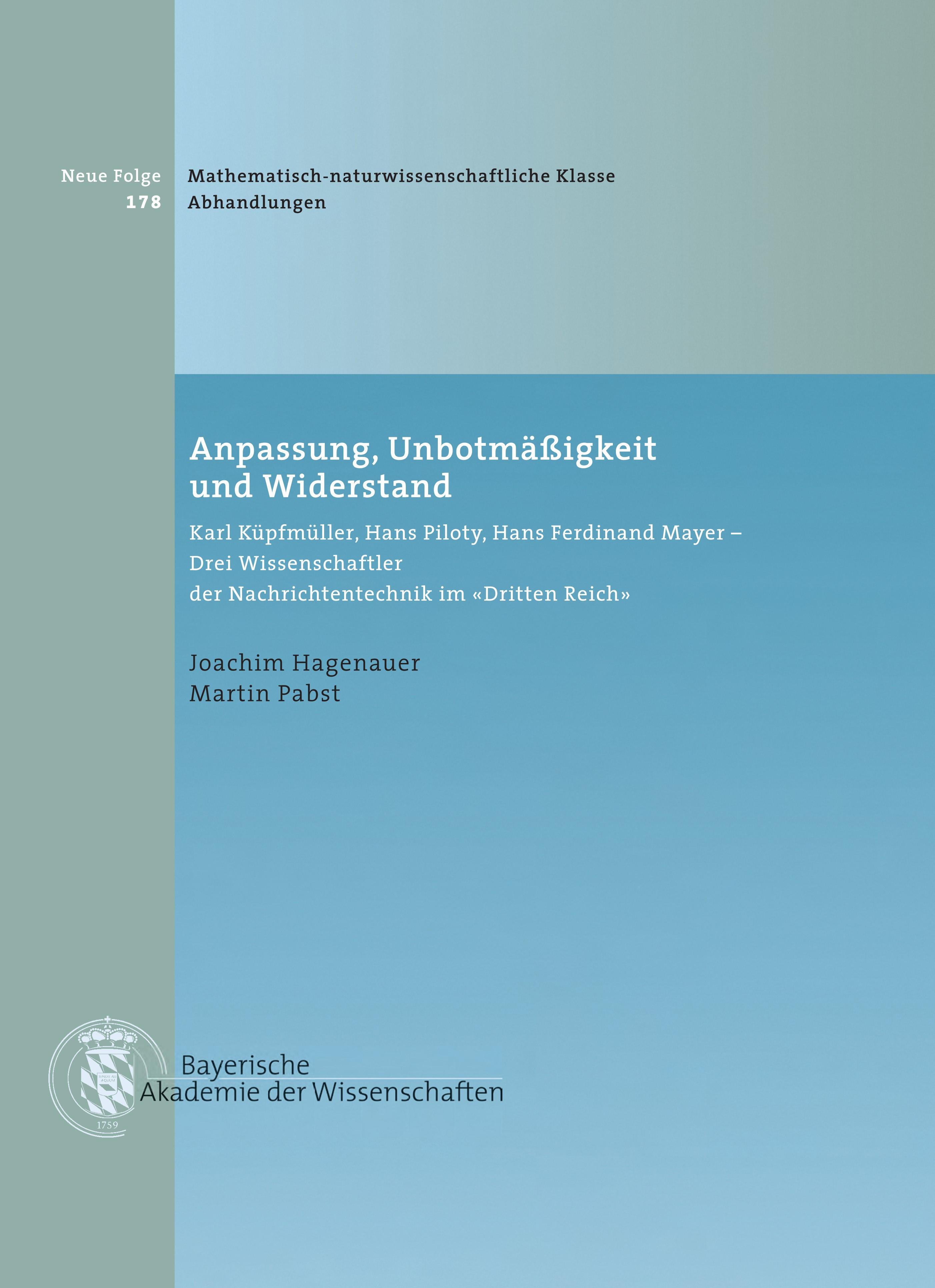 Cover des Buches 'Anpassung, Unbotmäßigkeit und Widerstand'