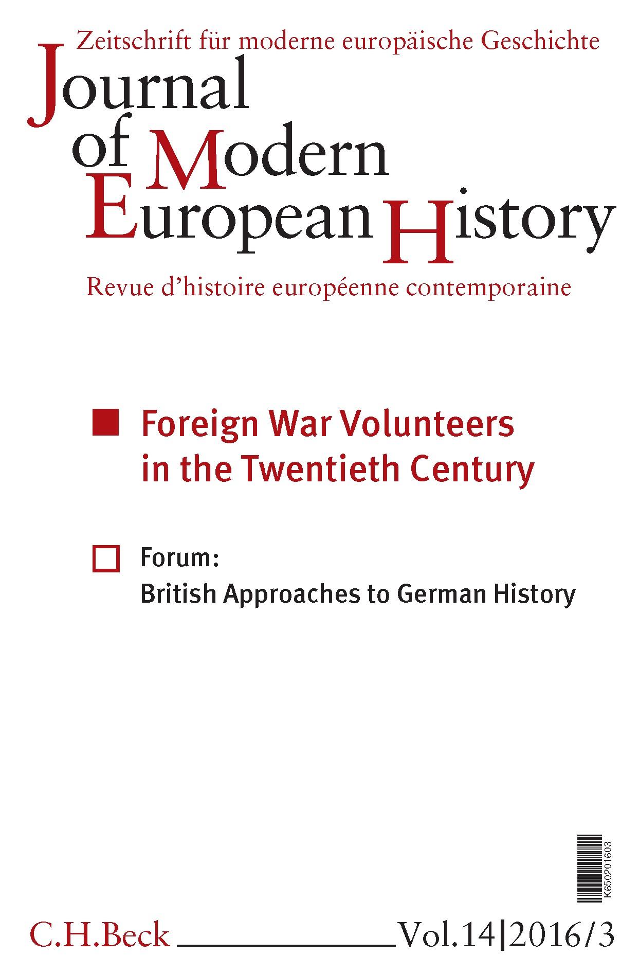 Cover des Buches 'Journal of Modern European History. Volume 14 (2016) Heft 3 = Zeitschrift für moderne europäische Geschichte = Revue d`histoire européenne contemporaine'