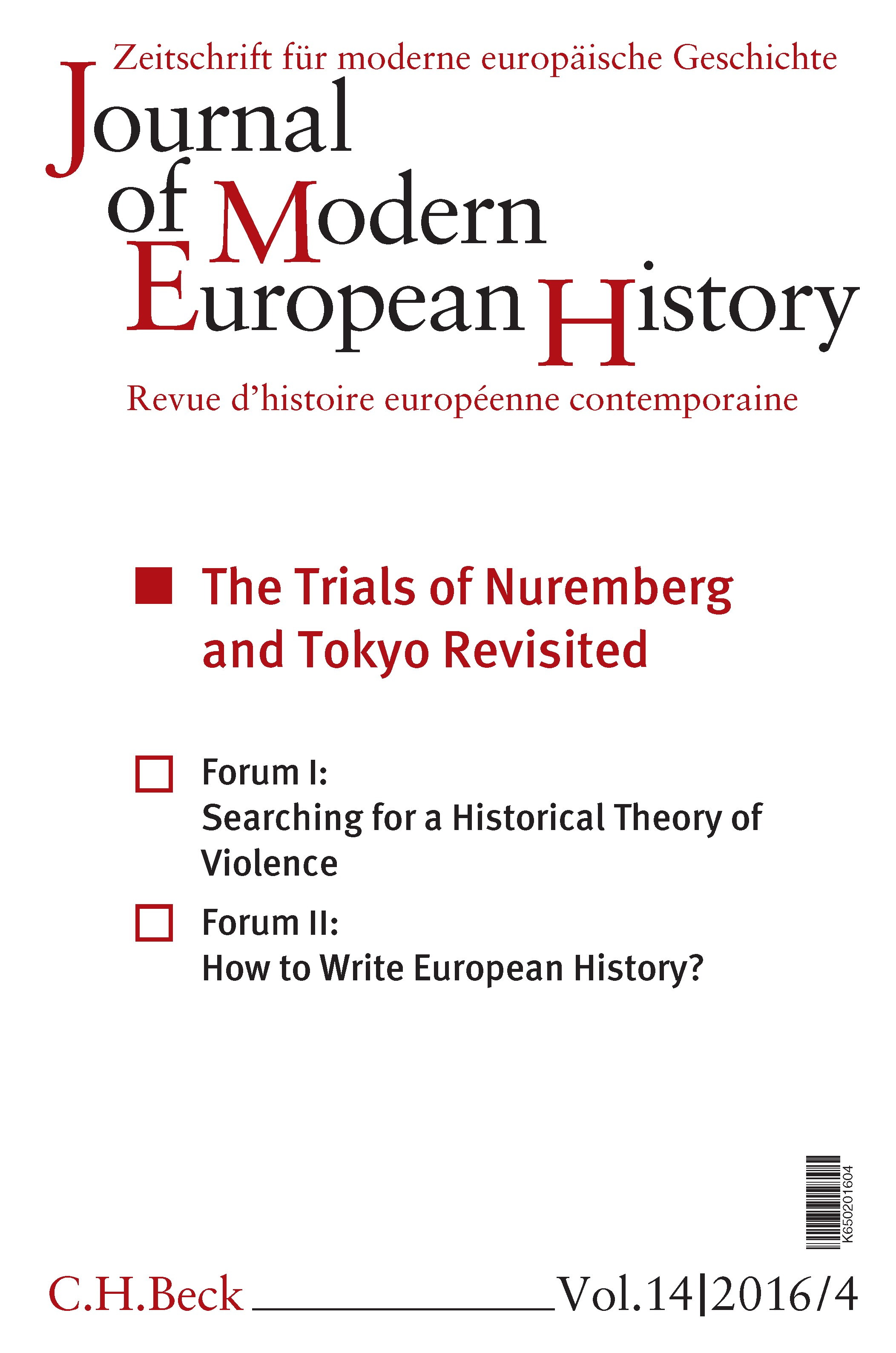 Cover des Buches 'Journal of Modern European History. Volume 14 (2016) Heft 4 = Zeitschrift für moderne europäische Geschichte = Revue d`histoire européenne contemporaine'