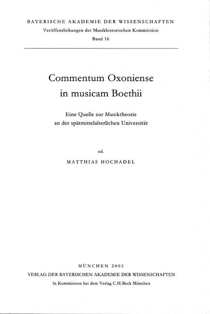 Cover des Buches 'Commentum Oxoniense in musicam Boethii'