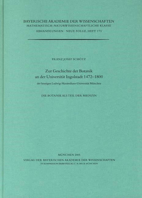 Cover des Buches 'Zur Geschichte der Botanik an der Universität Ingolstadt 1472-1800'