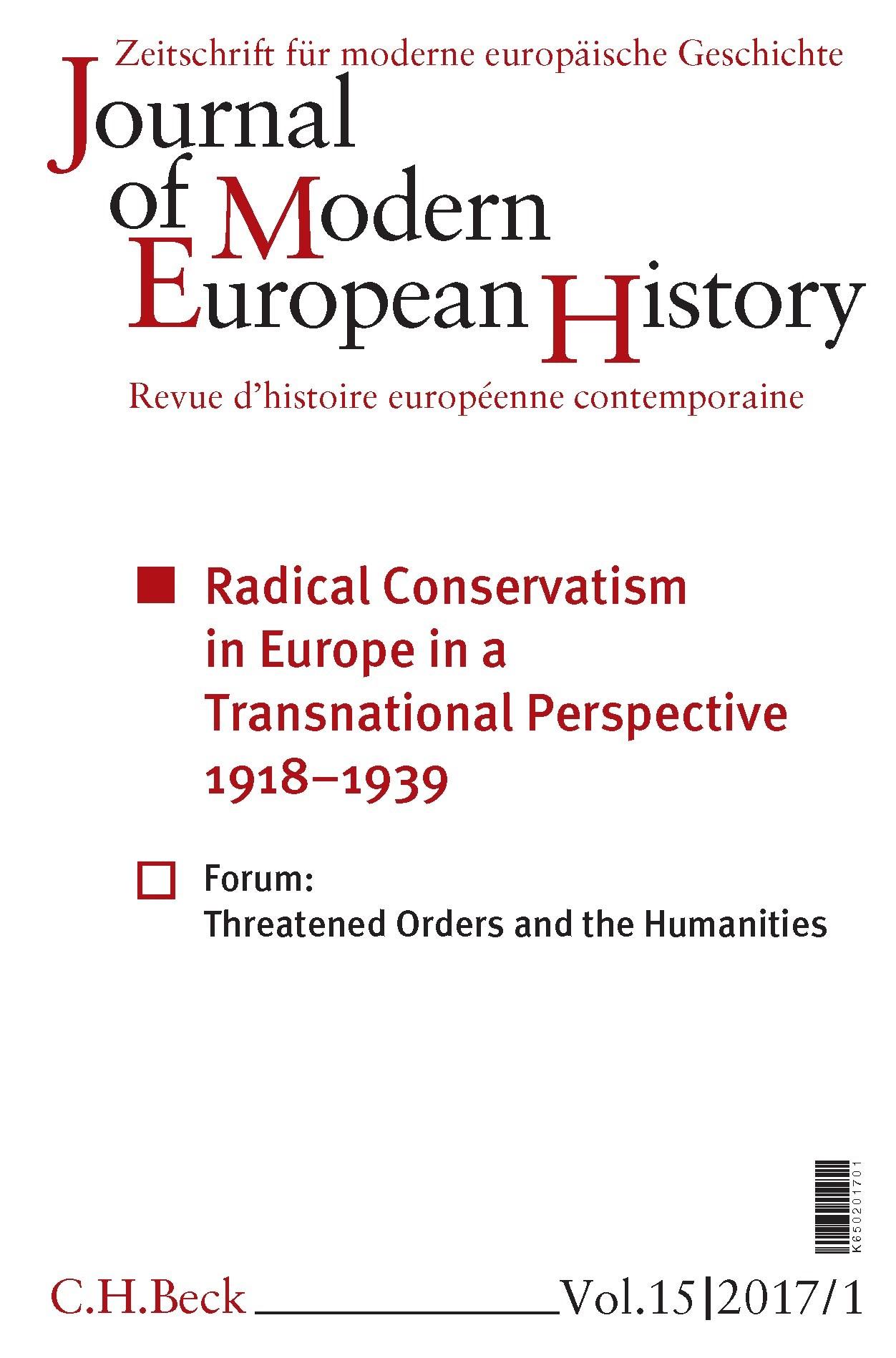 Cover des Buches 'Journal of Modern European History. Volume 15 (2017) Heft 1 = Zeitschrift für moderne europäische Geschichte = Revue d`histoire européenne contemporaine'