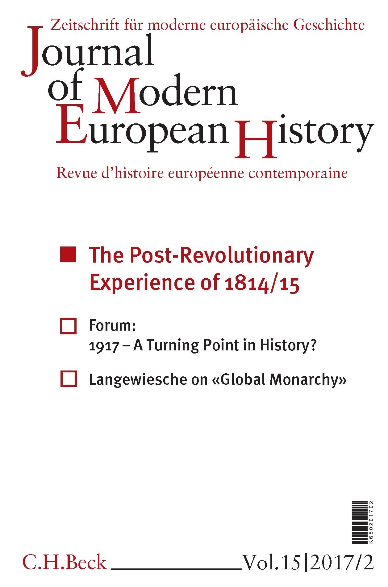 Cover des Buches 'Journal of Modern European History. Volume 15 (2017) Heft 2 = Zeitschrift für moderne europäische Geschichte = Revue d`histoire européenne contemporaine'