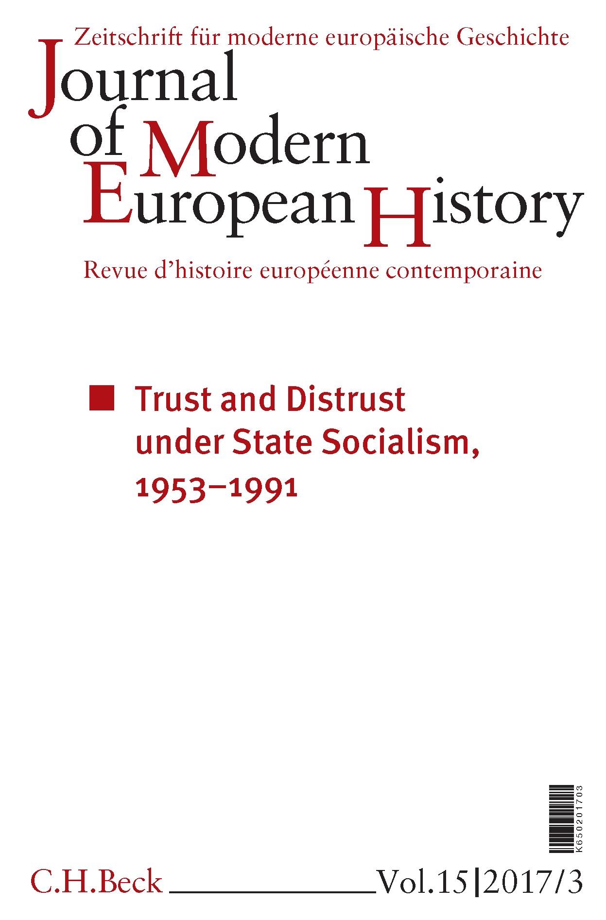 Cover des Buches 'Journal of Modern European History. Volume 15 (2017) Heft 3 = Zeitschrift für moderne europäische Geschichte = Revue d`histoire européenne contemporaine'