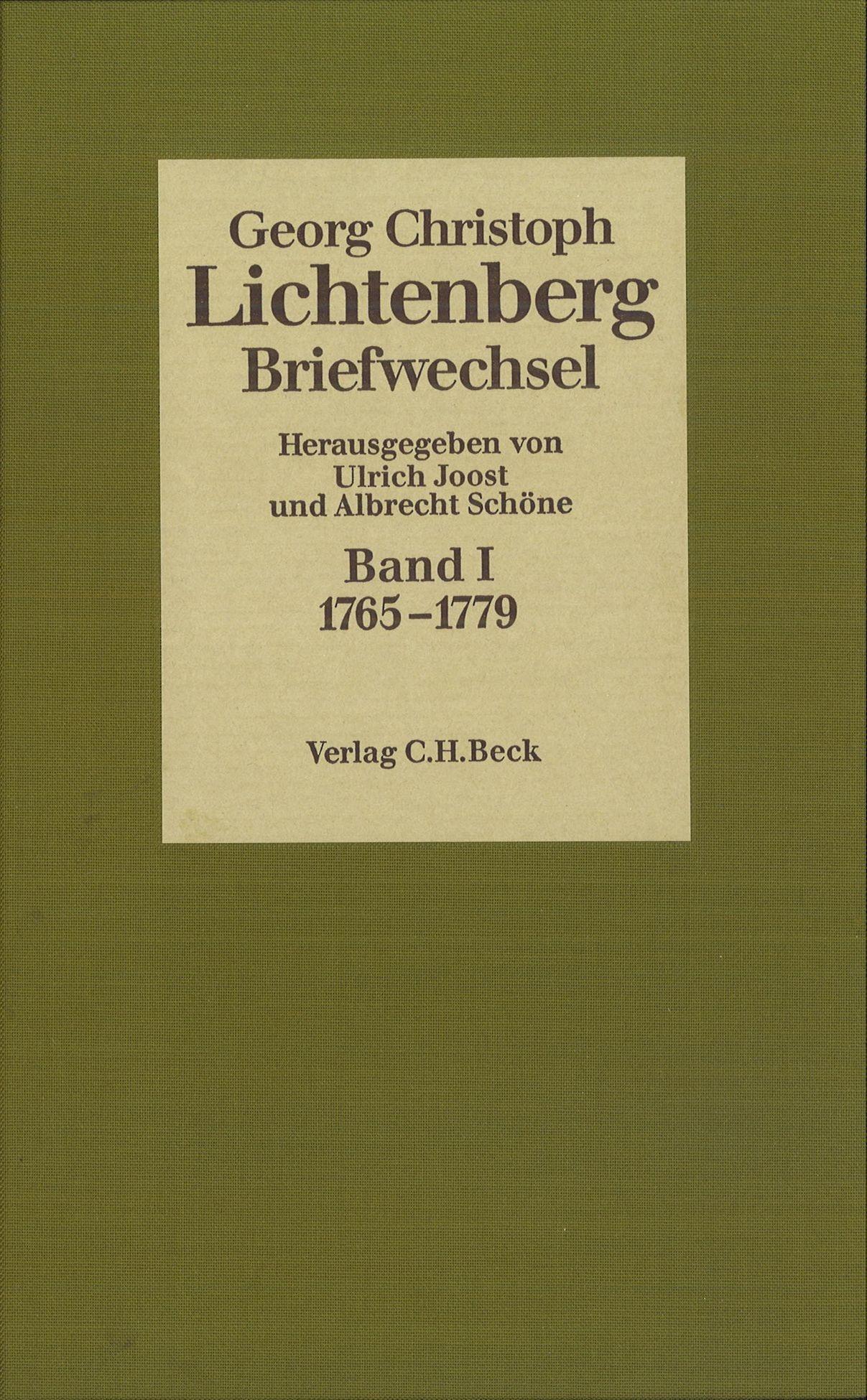 Cover des Buches 'Lichtenberg, Briefwechsel, Band 1: 1765-1779'