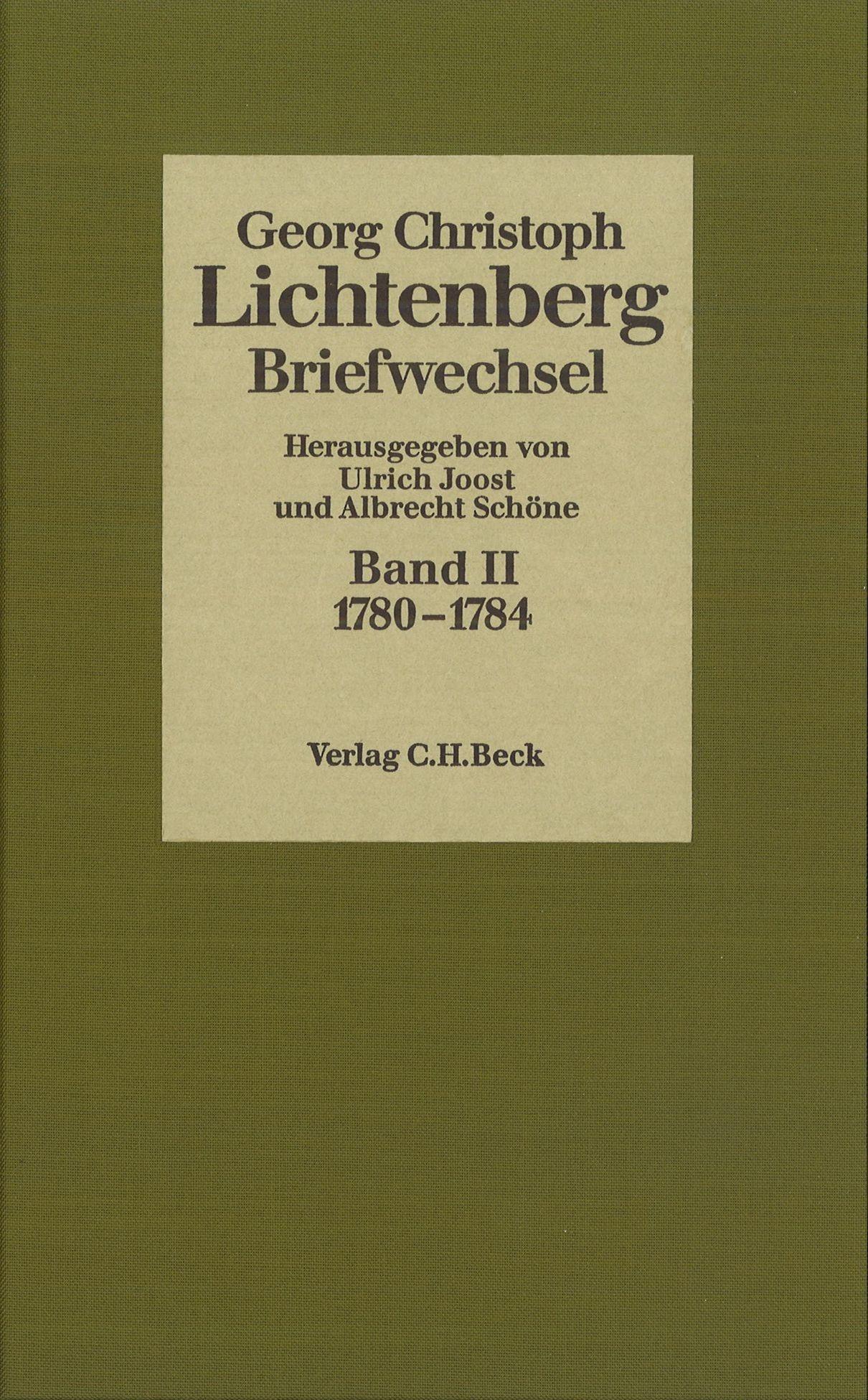 Cover des Buches 'Lichtenberg, Briefwechsel, Band 2: 1780-1784'