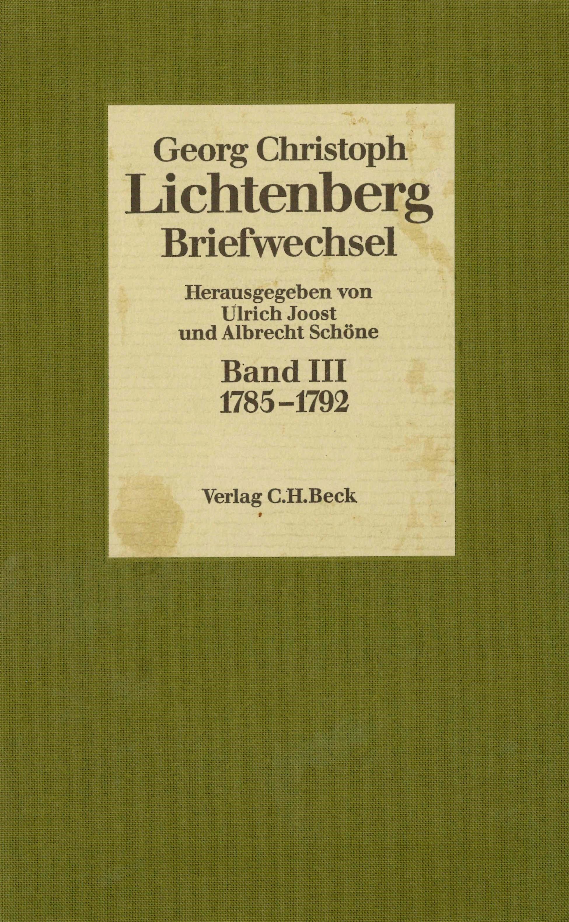 Cover des Buches 'Lichtenberg, Briefwechsel, Band 3: 1785-1792'