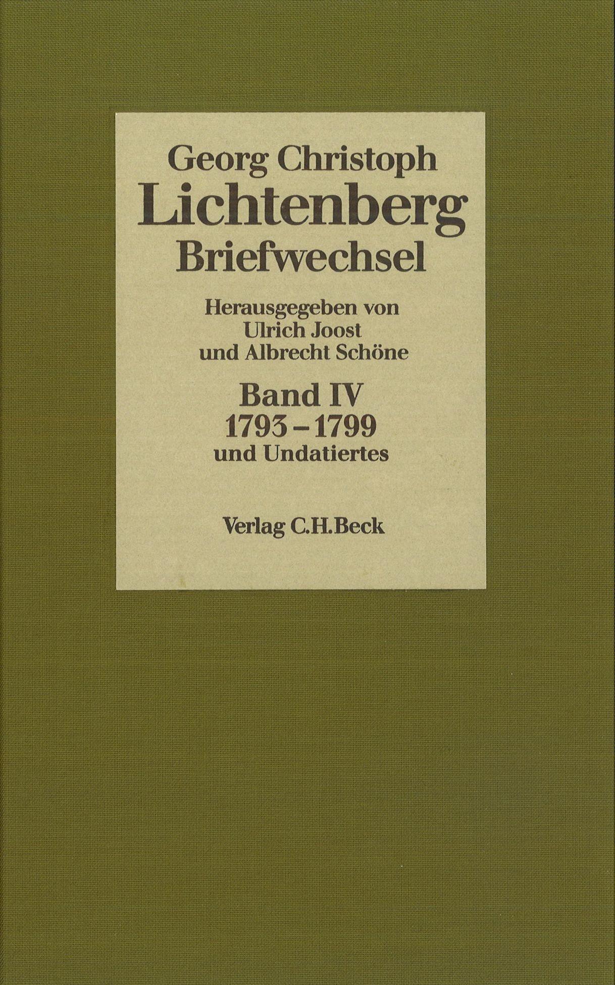 Cover des Buches 'Lichtenberg, Briefwechsel, Band 4: 1793-1799'