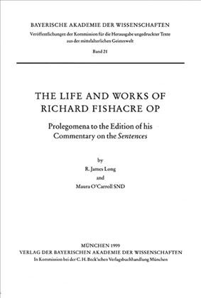 Cover des Buches 'The Life and Works of Richard Fishacre OP'