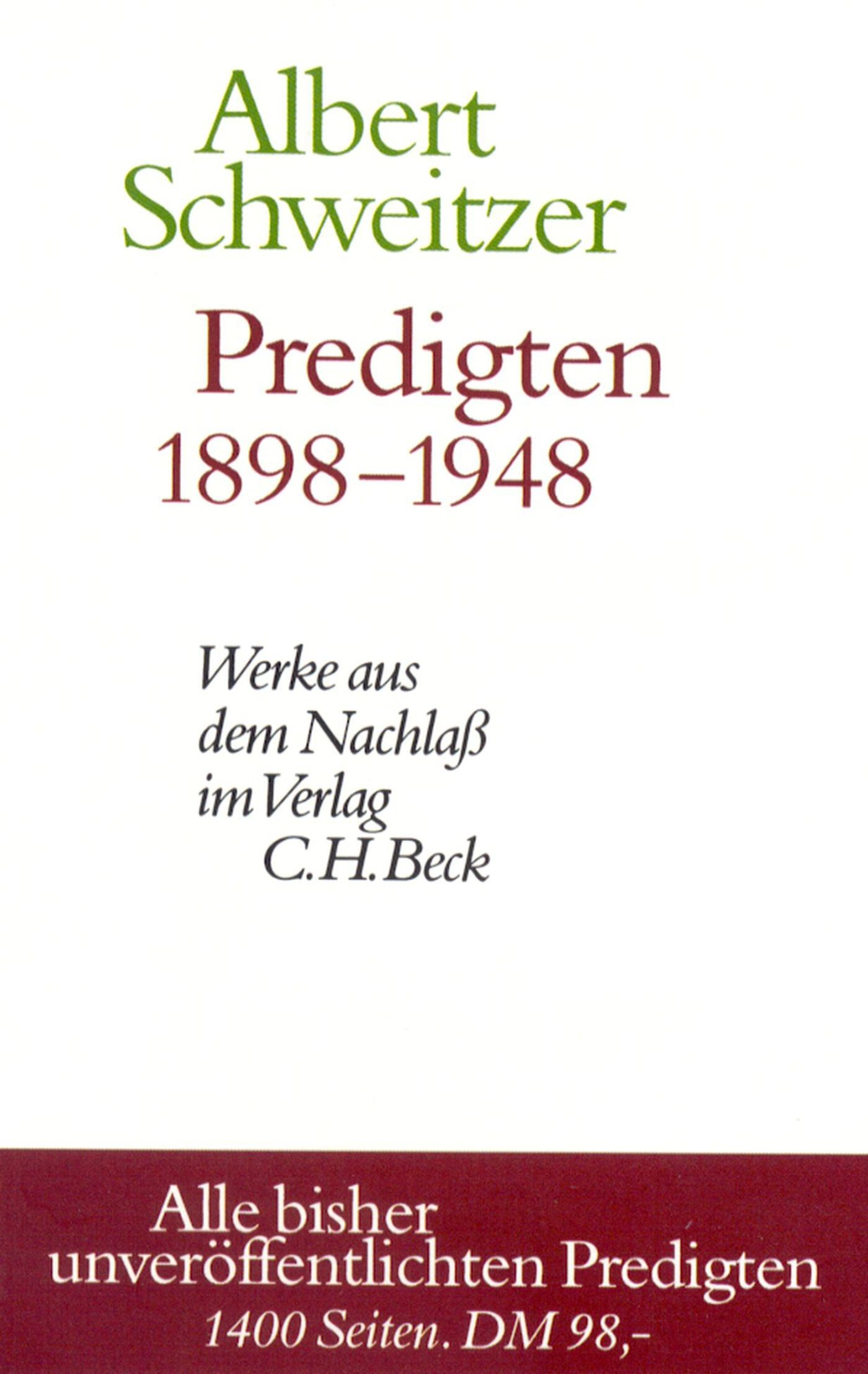 Cover des Buches 'Predigten 1898-1948'