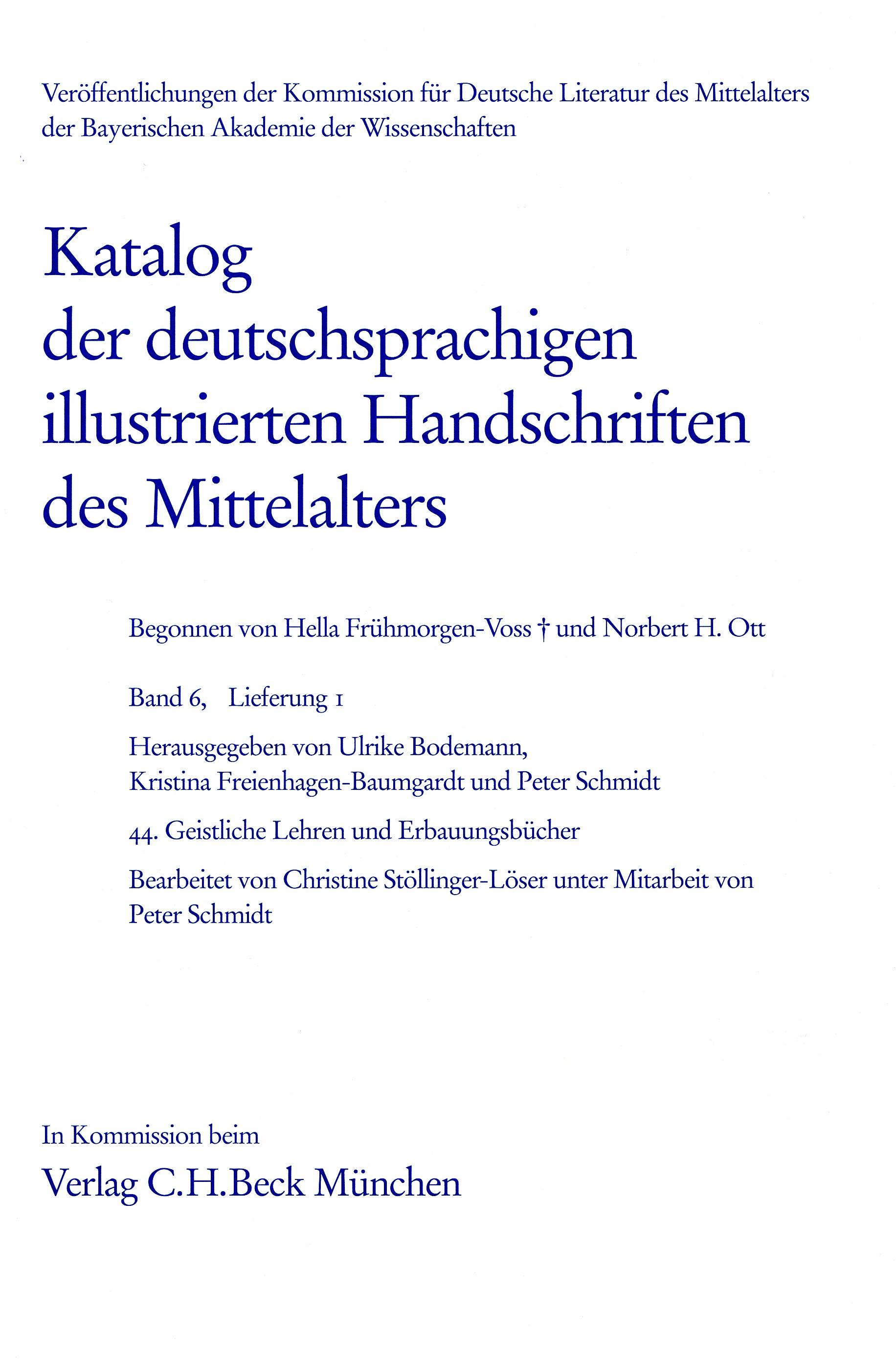 Cover des Buches 'Katalog der deutschsprachigen illustrierten Handschriften des Mittelalters Band 6, Lfg. 1'