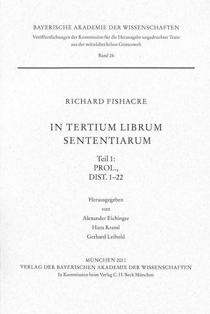 Cover des Buches 'In tertium librum Sententiarum'