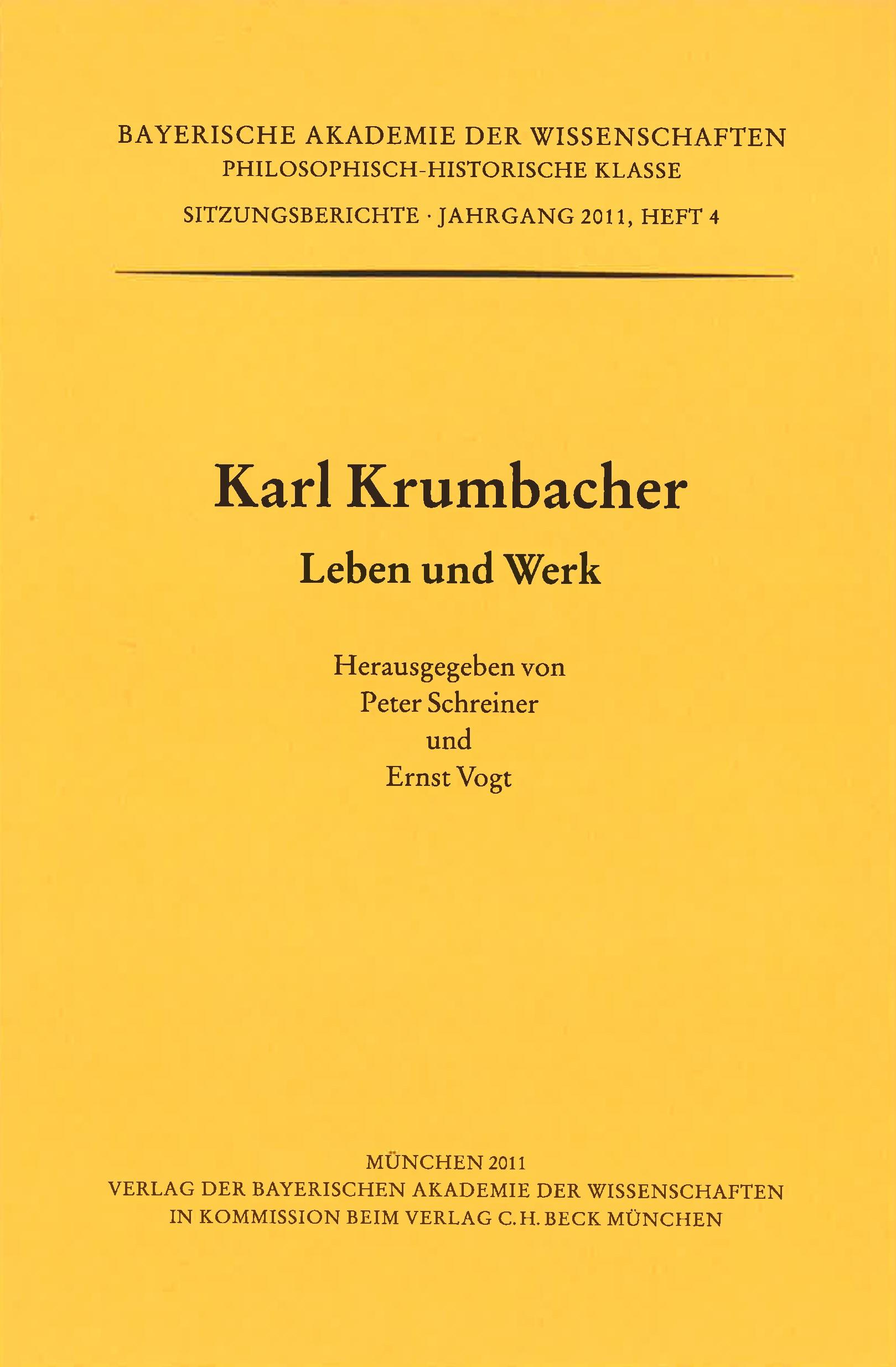 Cover des Buches 'Karl Krumbacher'
