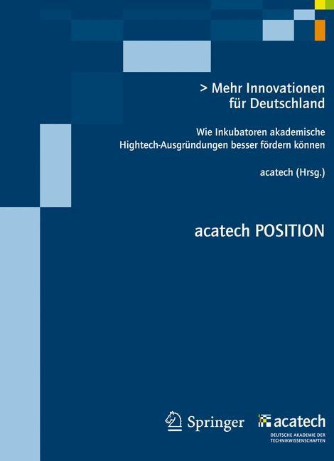 Abbildung von Spath | Mehr Innovationen für Deutschland | 2012