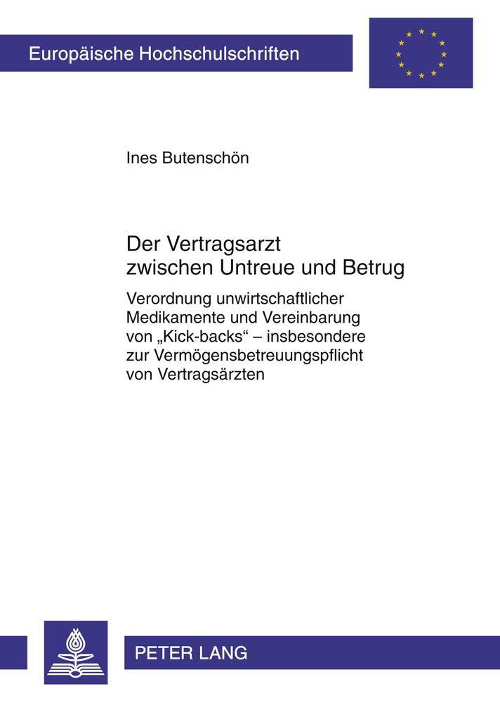 Abbildung von Butenschön | Der Vertragsarzt zwischen Untreue und Betrug | 1. Auflage 2012 | 2011