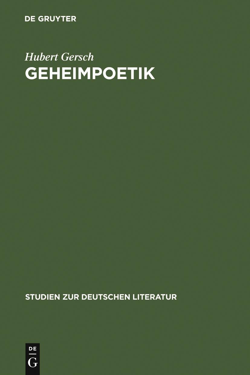Abbildung von Gersch   Geheimpoetik   1973