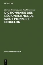 Dictionnaire des régionalismes de Saint-Pierre et Miquelon | Brasseur / Chauveau | Reprint 2011, 1992 | Buch (Cover)