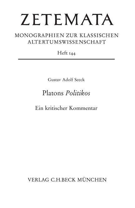 Cover: Gustav Adolf Seeck, Platons Politikos
