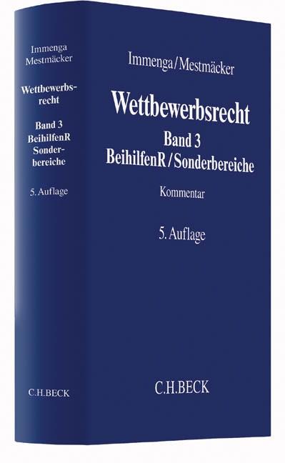 Wettbewerbsrecht, Band 3: Beihilfenrecht / Sonderbereiche | Immenga / Mestmäcker | 5. Auflage, 2016 | Buch (Cover)