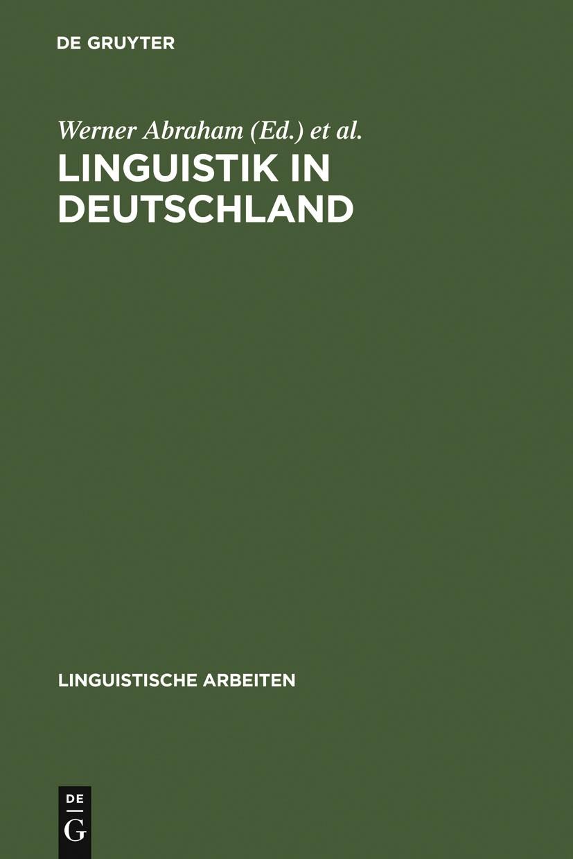 Linguistik in Deutschland | Abraham / Århammar / Linguistisches Kolloquium <21, 1987 | Buch (Cover)
