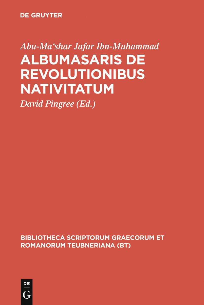 Albumasaris de revolutionibus nativitatum | Abu-Ma'shar Jafar Ibn-Muhammad / Pingree, 1968 | Buch (Cover)