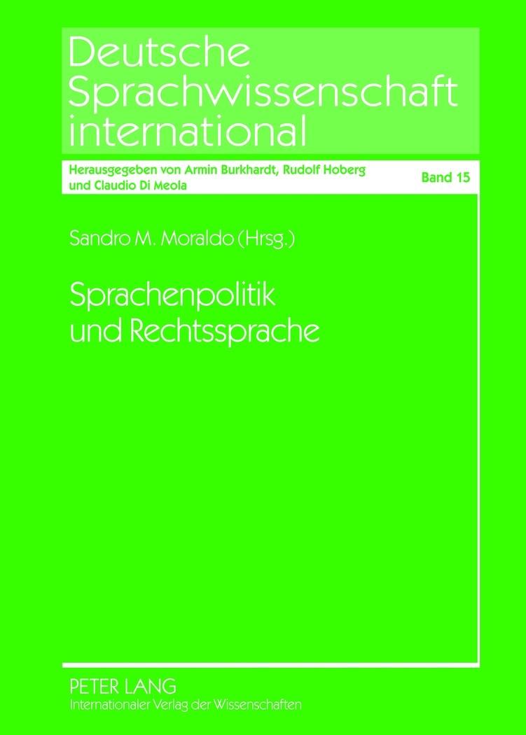 Sprachenpolitik und Rechtssprache | Moraldo, 2012 | Buch (Cover)