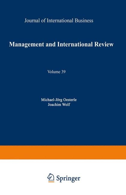 Management International Review | Oesterle / Wolf | 1999, 1999 | Buch (Cover)
