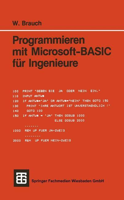 Abbildung von Brauch   Programmieren mit Microsoft-BASIC für Ingenieure   1986