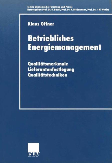 Betriebliches Energiemanagement | Offner, 2001 | Buch (Cover)
