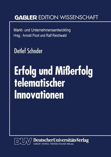 Erfolg und Mißerfolg telematischer Innovationen, 1995 | Buch (Cover)