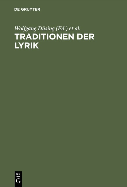 Traditionen der Lyrik | Düsing / Schings / Trappen / Willems | Reprint 2015, 1997 | Buch (Cover)