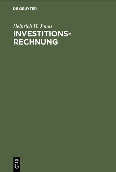 Investitionsrechnung | Jonas | Reprint 2018, 1964 | Buch (Cover)