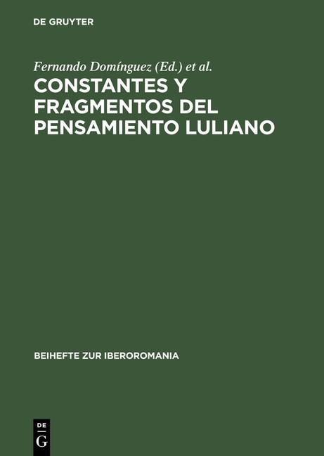 Abbildung von Domínguez / Salas | Constantes y fragmentos del pensamiento luliano | Reprint 2014 | 1996