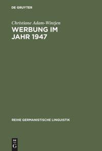 Werbung im Jahr 1947 | Adam-Wintjen, 1998 | Buch (Cover)