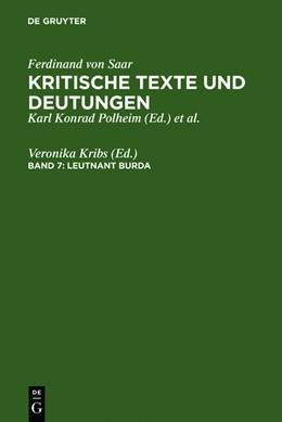 Abbildung von Kribs | Leutnant Burda | Reprint 2010 | 2010 | Kritische Texte und Deutungen....