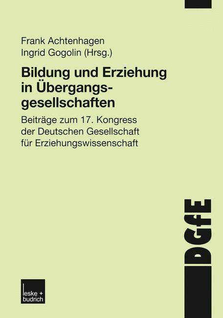 Bildung und Erziehung in Übergangsgesellschaften   Achtenhagen / Gogolin   2002, 2002   Buch (Cover)