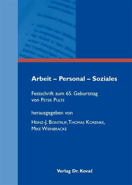 Abbildung von Bontrup / Korenke / Wienbracke   Arbeit – Personal – Soziales   1. Auflage 2012   2012
