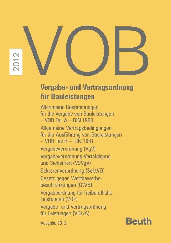 VOB 2012 -  Zusatzausgabe 2012 | DIN e.V. | Buch (Cover)