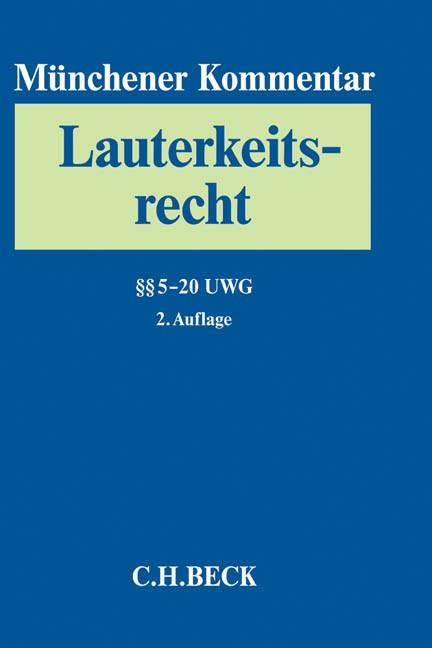 Münchener Kommentar zum Lauterkeitsrecht (UWG), Band 2: §§ 5-20 UWG   2. Auflage, 2014   Buch (Cover)