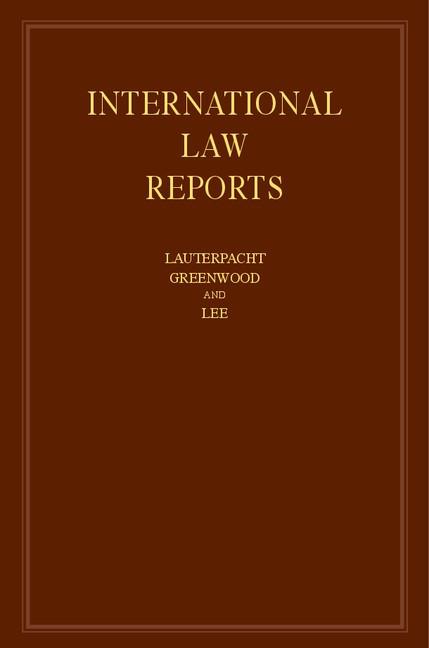 Abbildung von Lauterpacht / Greenwood / Lee | International Law Reports | 2013