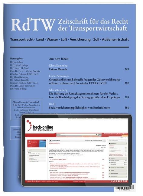 RdTW • Recht der Transportwirtschaft | 6. Jahrgang (Cover)