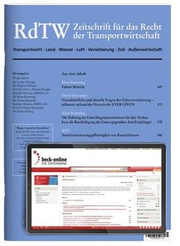 Abbildung von RdTW • Zeitschrift für das Recht der Transportwirtschaft | 6. Auflage | 2021 | beck-shop.de