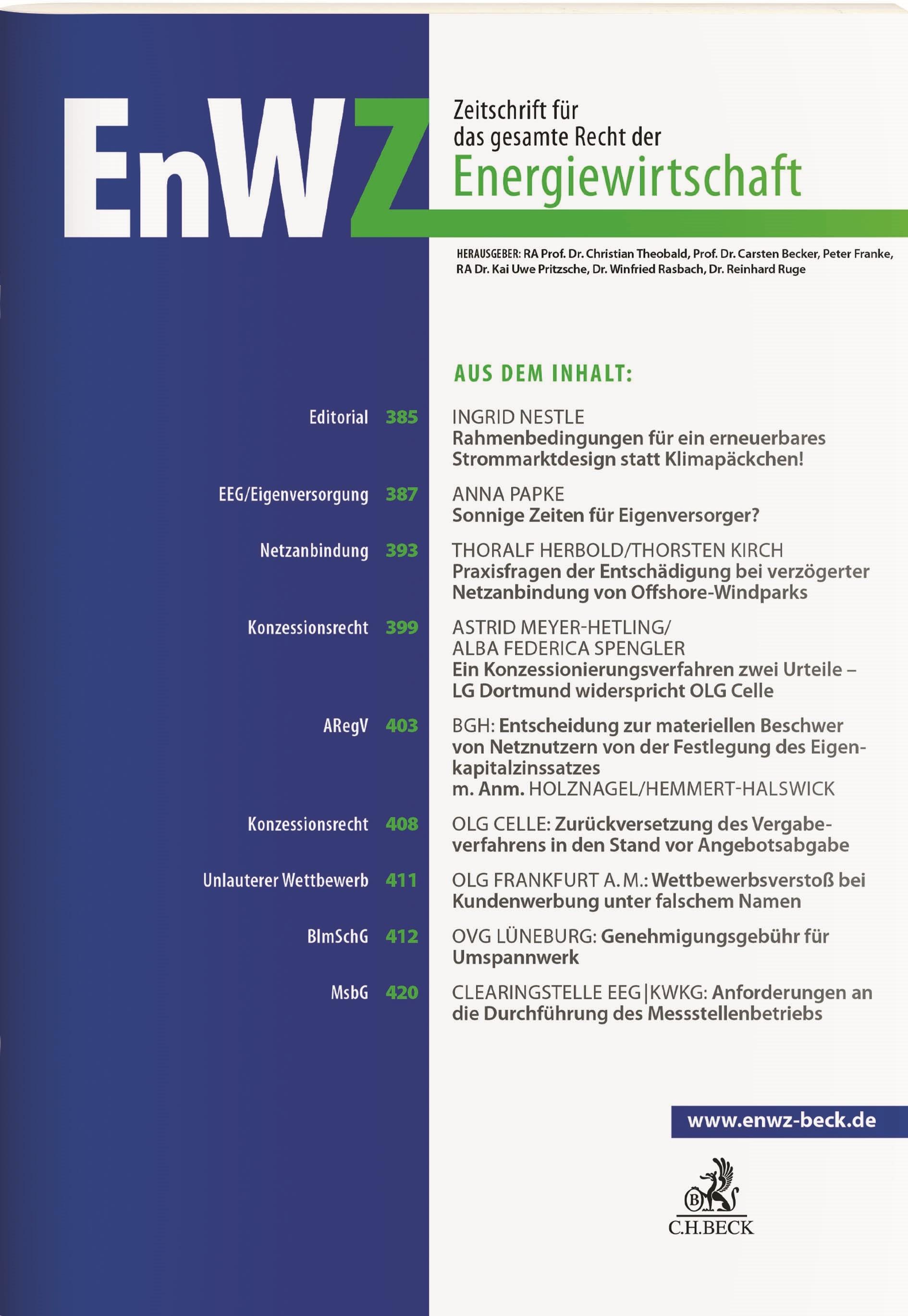 EnWZ • Zeitschrift für das gesamte Recht der Energiewirtschaft | 6. Jahrgang (Cover)