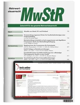 Abbildung von MwStR • Mehrwertsteuerrecht | 6. Auflage | 2021 | beck-shop.de