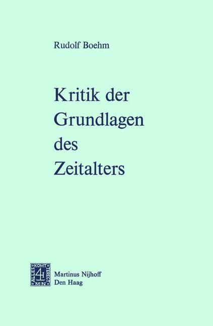 Abbildung von Boehm | Kritik der Grundlagen des Zeitalters | 1975